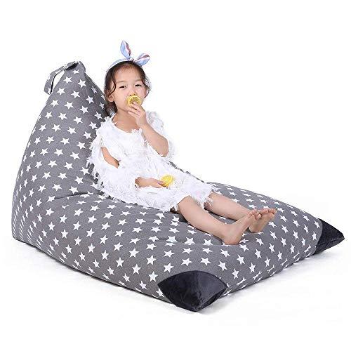 Evoio Stuffed Animal Bean Bag Storage Large Kid's Toys Organizer & Comfy Beanbag Chair Lounger Sofa/Bed Multipurpose Storage Bag 100% Cotton Premium Canvas 53gal/200L (Stars - Grey) ()