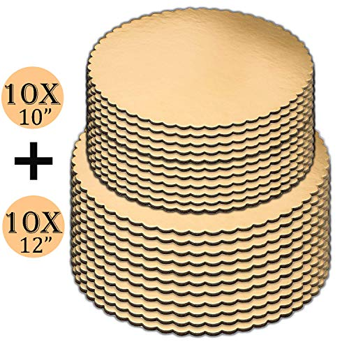 (Cake Boards set of 20, Gold, Cake Boards 10 inch, and Cake Boards 12 Inch, 10 of each, Laminated, Scalloped Edges, Cake Board, Cake Base, Cardboard Cake Rounds, Cake Circles.)