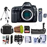 Canon EOS 5D Mark IV DSLR Body with Log - Bundle with 64GB U3 SDXC Card, Camera Case, Tripod, Spare Battery, Battery Grip, Screen Protector, Software Package and More