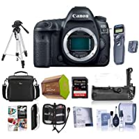 Canon EOS 5D Mark IV DSLR Body with Canon Log - Bundle with 64GB U3 SDXC Card, Camera Case, Tripod, Spare Battery, Battery Grip, Screen Protector, Software Package and More