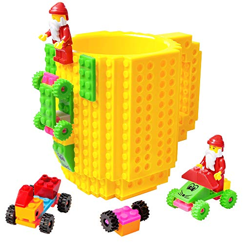 BOMENNE Build-on Brick Mug,Novelty Creative Compatible with LEGO DIY building Blocks Coffee Cup with bricks,is unique Christmas gift Idea (Yellow) (Christmas Unique)