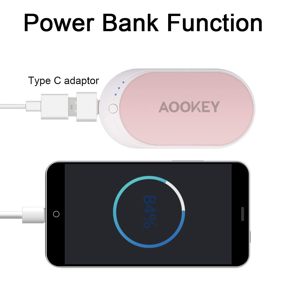 AOOKEY Calentador de Manos USB Recargable 5200mAh Powerbank Bater/ía Externa Calienta Manos Electrico Reutilizable Calentamiento R/ápido Calentadores de Bolsillo Cargador M/óvil Port/átil
