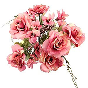 MARJON FlowersRose and Alstroemeria Glitter Bouquet - Artificial Silk Flowers Bundle Bunch[Pink] 13