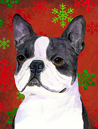 Caroline's Treasures SS4723CHF Boston Terrier Red Green Snowflakes Holiday Christmas Canvas House Flag, Large, Multicolor
