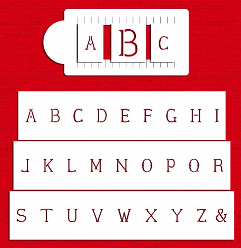 Designer Stencils C336 Basic Monogram Set Cake Stencils, Beige/semi-transparent