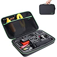 Large Carrying Case for GoPro HERO5, 4, +LCD, Black, Silver, 3+, 3, 2 and Accessories by HSU with Carry Handle and Carabiner Loop - Portable and Shock