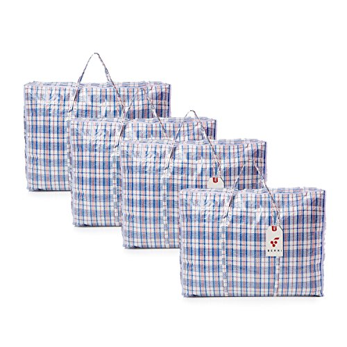 Berri 4 X Large Laundry Storage Shopping Bags with Zip - REUSABLE/NEW (Assorted Colour)