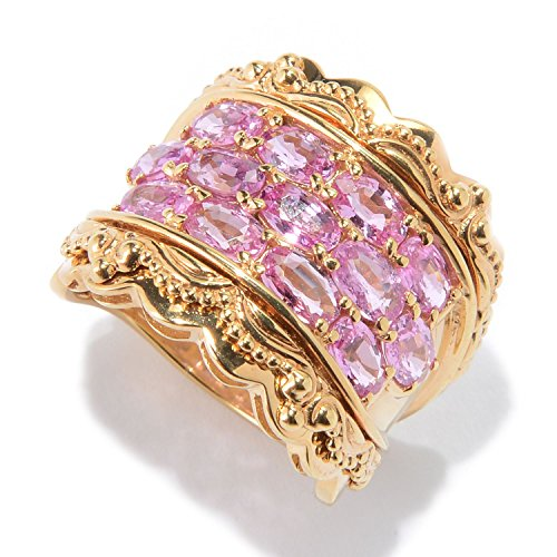Michael Valitutti Palladium Silver Etruscan Collection Oval Pink Sapphire 13-Stone Ring
