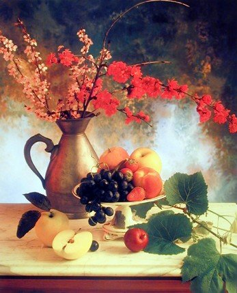 (Wall Decor Flowers in Vase & Fruit (Grapes & Apple) Still Life Art Print Poster (16x20))