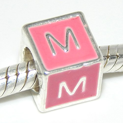 Pro Jewelry Pink Block Alphabet Beads A-Z You Choose From Menu (M)