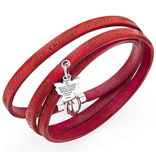Holyart Amen Bracelet, Angel of God in Italian, red Charm, 54 cm (21.28 inc.) ()