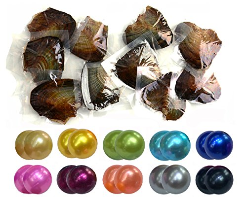Twin Pearls Freshwater Cultured Double Love Wish Pearl Oyster with Round Twin Pearl Inside 10 Colors 7-8mm (10 Oysters & 20 Pearls) ()