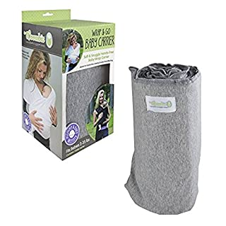 Woombie Wrap & Go Easy and Natural Hands-Free Baby Carrier, Heathered Gray, 2-35 Pounds