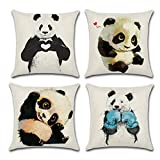 WERSEA Decorative Animal Prints Square Linen Throw Pillow Cover, Burlap Pillow Case Cushion Cover for Living Room Couch, Set of 4 - Cute Pandas Design (18'' x 18''/ 45cm x 45 cm)