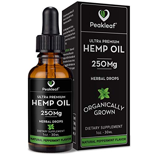 Peakleaf Hemp Oil for Pain Relief :: Anti-Anxiety and Stress Support :: Hemp Oil Drops :: Great for Skin and Hair with MCT Fatty Acids :: Promotes Good General Health :: 250MG Per Serving :: 1 FL Oz.