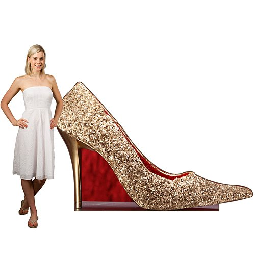 4' Stiletto High Heel - 4 ft. 7 in. Prom Homecoming Formal Sequins & Bow Ties Stiletto Standee Standup Photo Booth Prop Background Backdrop Party Decoration Decor Scene Setter Cardboard Cutout