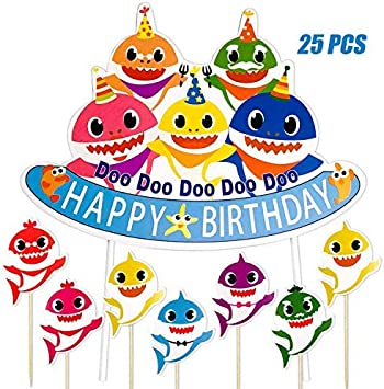 Awe Inspiring Micher Shark Birthday Cake Topper Shark Theme Party Kids Birthday Funny Birthday Cards Online Fluifree Goldxyz