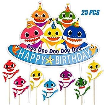 Micher Shark Birthday Cake Topper, Shark Theme Party Fiesta ...