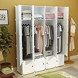 white garage door handle - KOUSI Portable Closet Clothes Wardrobe Bedroom Armoire Storage Organizer with Doors, Capacious & Sturdy, White, 8 Cubes&4 Hangers