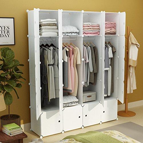 KOUSI Portable Clothes Closet Wardrobe Armoire Storage Organizer. 8 Cubes+4 Hanging Section, White