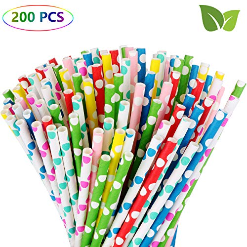 Paper Drinking Straws (200 Pack 7.8 Inches Biodegradable 100% Paper Straws, 8 Colors Wave Point Disposable Paper Drinking Straws for Milkshakes, Smoothies, Juice and Party)