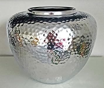 Cleanprince Xl Vase Hammerschlag Silber Rund Bauchig 26 Cm Ca 1 1