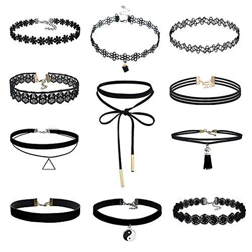 MJartoria Gothic 90s Yin Yang Pendant Black Velvet Elastic Henna Tattoo Lace Choker Necklace Set of 11 (Set of 11)