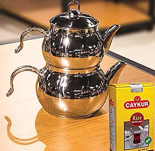 Tetera de acero inoxidable de Caydanlik turco tamano mini disenador regalo 500 g te negro turco