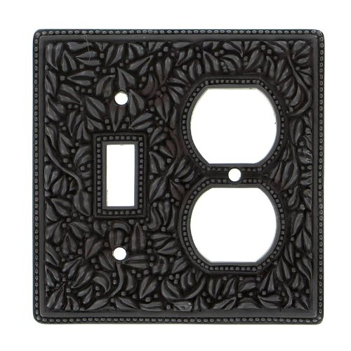 Vicenza Designs WP7000 San Michele Wall Plate with Double Outlet and Toggle Opening, Oil-Rubbed Bronze by Vicenza Designs