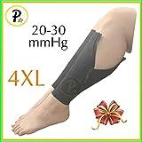Presadee New Big Tall Calf Sleeve with Zipper 20-30 mmHg Compression Extra Wide Shin Energize Leg Swelling Circulation (Black, 4XL)