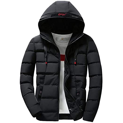 WM & MW Fashion Mens Coats Winter Warm Solid Color Zipper Hooded Jacket Casual Formal Coats Outwear Tops at Amazon Mens Clothing store: