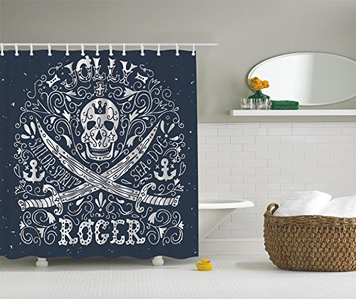 Skull Shower Curtain Nautical Home Decor By Ambesonne, Pirates Jolly Roger  Flag Sailor Symbols Crossed ...