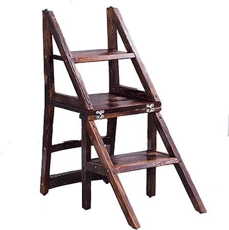 ZENGAI Escalera Madera Silla Escalera Madera Toda Madera Maciza Escalera Silla Uso Dual Multifuncional Taburete Escalera De Madera Biblioteca# (Tamaño : 140x45x87cm): Amazon.es: Hogar