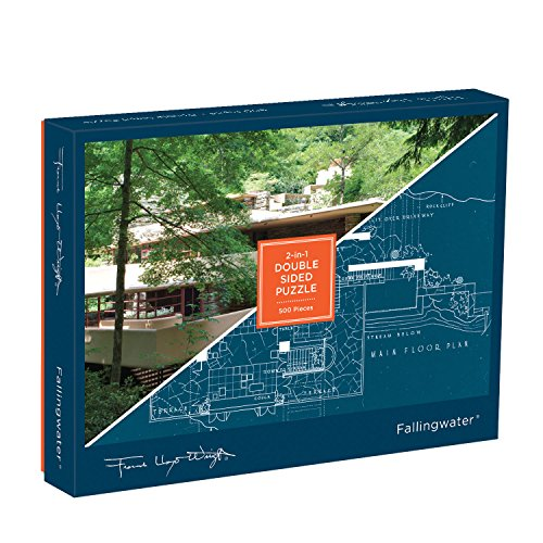 Galison Frank Lloyd Wright Fallingwater Two-Sided Puzzle, 500 Pieces, 24