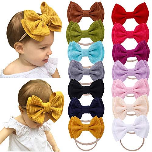 Baby Girls Nylon Elastic Headbands Soft Flower Leather Bow Hair Band for Newborn Infant Toddler kids Set of 10 (Multicolor-Baby headbands H)