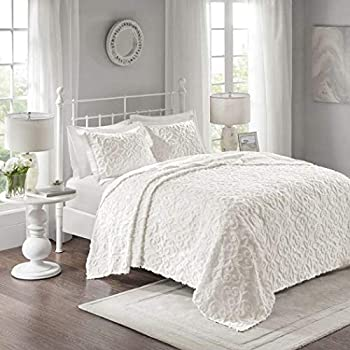 Image of 3 Piece 102 x 118 Inch White Floral Chenille Oversized Bedspread Full Queen Set, Extra Long Antique Bedding To The Floor Chenile Material Classic Vintage Country Cottage, Cotton Home and Kitchen