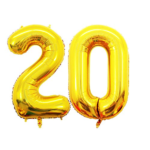 GOER 42 Inch Gold Number 20 Balloon,Jumbo Foil Helium Balloons for 20th Birthday Party Decorations and 20th Anniversary Event