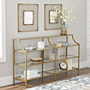 "Better Homes and Gardens Versatile Gold Finish Nola Console Table Features Safety-Tempered Glass and Metal Construction, Assembled Dimensions: 59.41"" x 13.07"" x 32.40"""