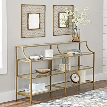 "Better Homes And Gardens Versatile Gold Finish Nola Console Table Features Safety Tempered Glass And Metal Construction, Assembled Dimensions: 59.41"" X 13.07"" X 32.40"" by Better Homes And Garden"