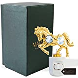 24K Gold Plated Crystal Studded Childrens Night Light with LED Bulb by Matashi (Horse, White LED Bulb)