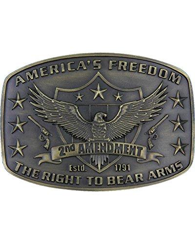 Bear Arms Belt Buckle (Montana Silversmiths Men's Second Amendment Heritage Attitude Belt Buckle Gold One)