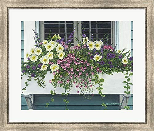 Nantucket Floral Picture Frame - Nantucket Bloom by Bruce Dumas Framed Art Print Wall Picture, Silver Scoop Frame, 31 x 26 inches