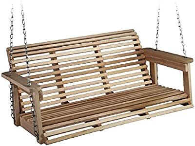 Charming Poplar Porch Swing, Sailing Hoop, Rolled Back and Bottom, Carbon Steel and Zinc Coated Galvanized Steel Chains, Solid and Long Lasting Poplar Wood Construction, Comfortably Seats 2