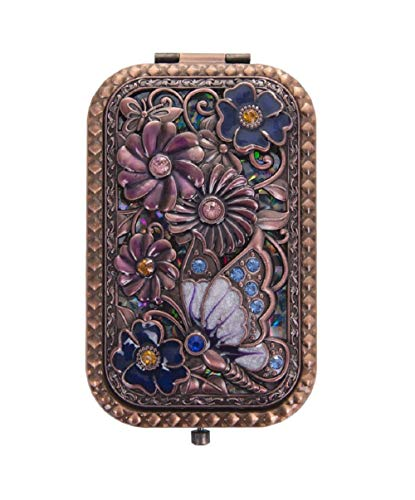 Nerien Women's Magnifying Vintage Foldable Metal Princess Style Butterfly Flower Russian Style Purse Mirror Portable Travel Mirror Copper ()