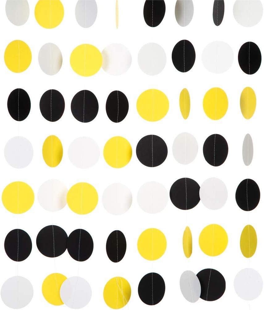 MOWO Paper Garland Circle Dots Hanging Decoration, 2.5'' in Diameter,10 feet (Black,Yellow,White, 2pc)