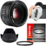 Yongnuo 50mm f/1.8 AF HD Standard Prime Lens with Hood, UV Filter and Microfiber Cloth for Canon EOS 80D, 70D, 60D, 50D, 7D, 6D, 5D, T6i, T6s, T6, T5i, T5, T4i, T3i, T3 and T2i Digital SLR Cameras