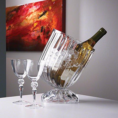 Slanted Modern Ribbed Wine Chiller Ice Bucket | Round European Glass Tilt Retro