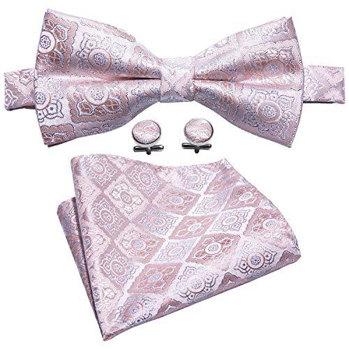 Barry.Wang Mens Silk Bow Tie Pocket Square Paisley Bowtie Cufflinks Mens Necktie Set (Pink Silver)