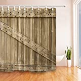 NYMB Rustic Country Barn Wood Old Wooden Door Shower Curtain 69X70 inches Mildew Resistant Polyester Fabric Bathroom Fantastic Decorations Bath Curtains Hooks Included (Multi10)