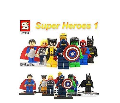 8pcs/set Marvel & DC SY180 Super Heroes Action Figures The Avengers Ironman spiderman Superman Batman Captain America hulk Thor Wolverine